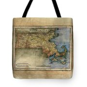 Historical Map Hand Painted Massachussets Tote Bag
