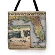 Historical Map Hand Painted St. Augustine Tote Bag