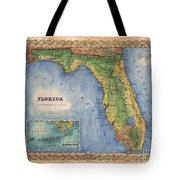 Historical Map Hand Painted Vintage Florida Colton Tote Bag