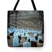 Holiday Wreaths At National Cemetery Tote Bag by Tom Singleton