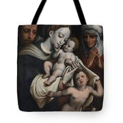 Holy Family With Elisabeth And John The Baptist  Tote Bag