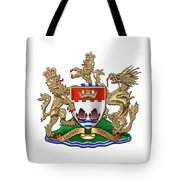 Hong Kong - 1959-1997 Coat Of Arms Over White Leather  Tote Bag