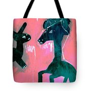 Horse And Rabbit On Pink Tote Bag
