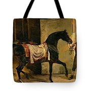 Horse Leaving A Stable Tote Bag