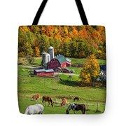 Horses Grazing In Autumn Tote Bag