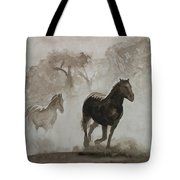 Horses In The Mist Tote Bag