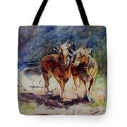 Horses On Work Tote Bag