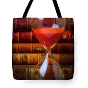 Hourglass And Old Books Tote Bag