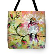 Hummingbird Pink Blossoms Tote Bag by Ginette Callaway