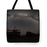 Hurkett Shipwrecks On A Late June Night Milky Way Arch Pano Tote Bag