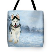 Husky Pup In The Snow - Painting Tote Bag by Ericamaxine Price