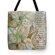 I Am...positive Affirmation In Coral And Green Tote Bag