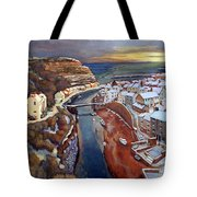 I Saw Three Ships Come Sailing In, On Christmas Day In The Morning. Tote Bag
