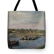 Idle Barges On The Loing Canal At Saint-mammes Tote Bag