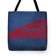 Indian Motorcycle Old Vintage Logo Blue Background Tote Bag