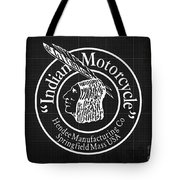 Indian Motorcycle Old Vintage Logo Blueprint Background Tote Bag