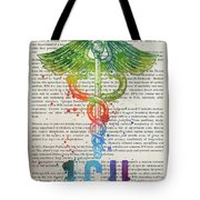 Intensive Care Unit Gift Idea With Caduceus Illustration 03 Tote Bag