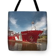 Iver Bright Tanker On The Manistee River Tote Bag