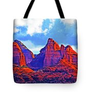 Jack's Canyon Village Of Oak Creek Arizona Sunset Red Rocks Blue Cloudy Sky 3152019 5080  Tote Bag