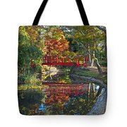 Japanese Garden Red Bridge Reflection Tote Bag