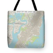 Jersey City New Jersey Us City Street Map Tote Bag