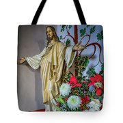 Jesus Christ With Flowers Tote Bag