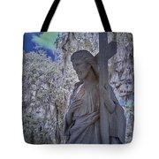 Jesus Graveyard Statue Tote Bag