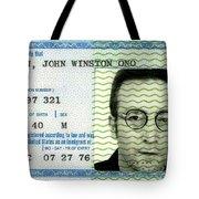 John Lennon Immigration Green Card 1976 Tote Bag