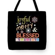 Joyful Merry Blessed Christmas Snowflakes Tote Bag