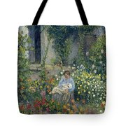 Julie And Ludovic-rodolphe Pissarro Among The Flowers, 1879 Tote Bag