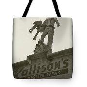 Kallison Cowboy Still Stands In San Antonio Tote Bag