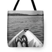 Kayaking In Black And White Tote Bag