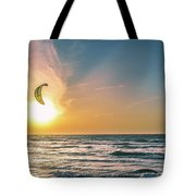 Kitesurfing At Sunset Tote Bag by Michael Goyberg