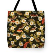 Koi And Lily Pads In Dark Water Tote Bag