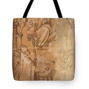 La Virgen En Gloria Apareciendose A Varios Santos  Tote Bag