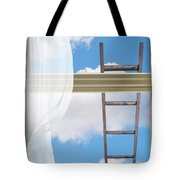 Ladder Against Window Pane Tote Bag