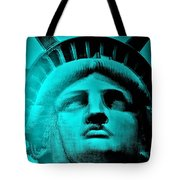 Lady Liberty In Turquoise Tote Bag