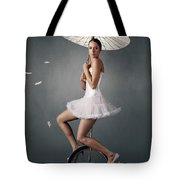 Lady On A Unicycle Tote Bag