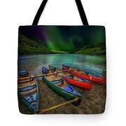 lake Geirionydd Canoes Tote Bag by Adrian Evans