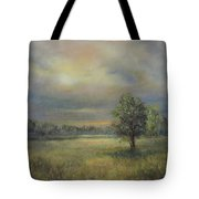 Landscape Of A Meadow With Sun And Trees Tote Bag