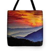 Laurens Sunset And Mountains Tote Bag