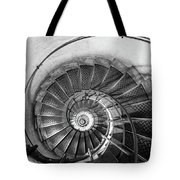 Lblack And White View Of Spiral Stairs Inside The Arch De Triump Tote Bag