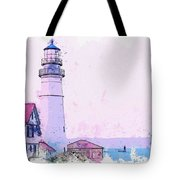 Lighthouse, Cape Elizabeth, United States -  Watercolor By Ahmet Asar Tote Bag