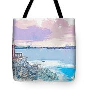 Lighthouse, Sydney, Australia -  Watercolor By Ahmet Asar Tote Bag