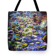 Lily  Pond Impressions Oil Painting Tote Bag by Ginette Callaway