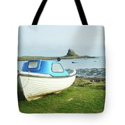 Lindisfarne Castle, Bay And Boat Tote Bag
