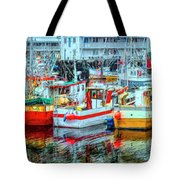 Line Up Of Fishing Boats Tote Bag by Debra and Dave Vanderlaan