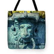 Lions Head On Flower Planter Tote Bag