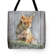 Little Red Fox With Wood Texture Bordered Tote Bag by Debra and Dave Vanderlaan