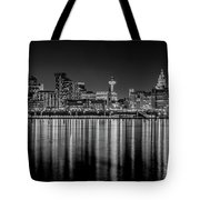 Liverpool Skyline In The Night Black And White Tote Bag
